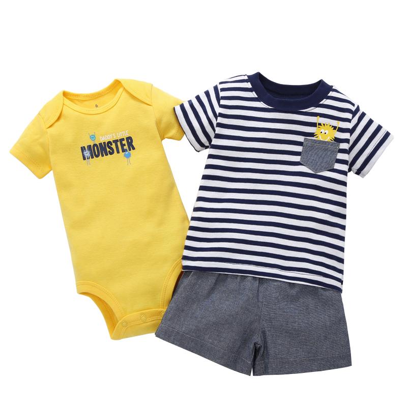 Newborn Toddler baby boy clothes summer casual short sleeves stripe T-shirt Tops+letter print romper+shorts 3pcs set cotton