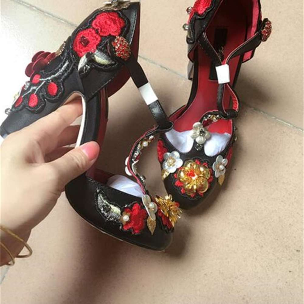 fashion women top quality vintage high heels party shoes, flower genuine leather sole black and red colour wedding heels shoes