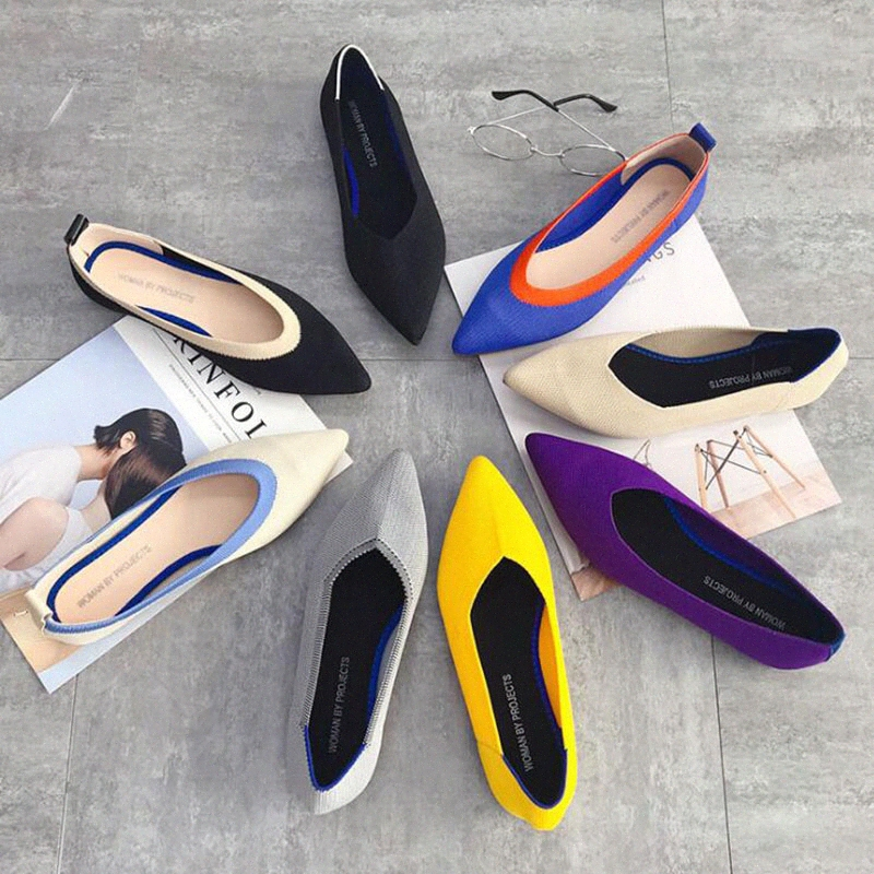 Pointed Toe Ballet Flats Women Slip On Ladies Flats Shoes Wool Knitted Pregnant Women Loafers Shoes Moccasins