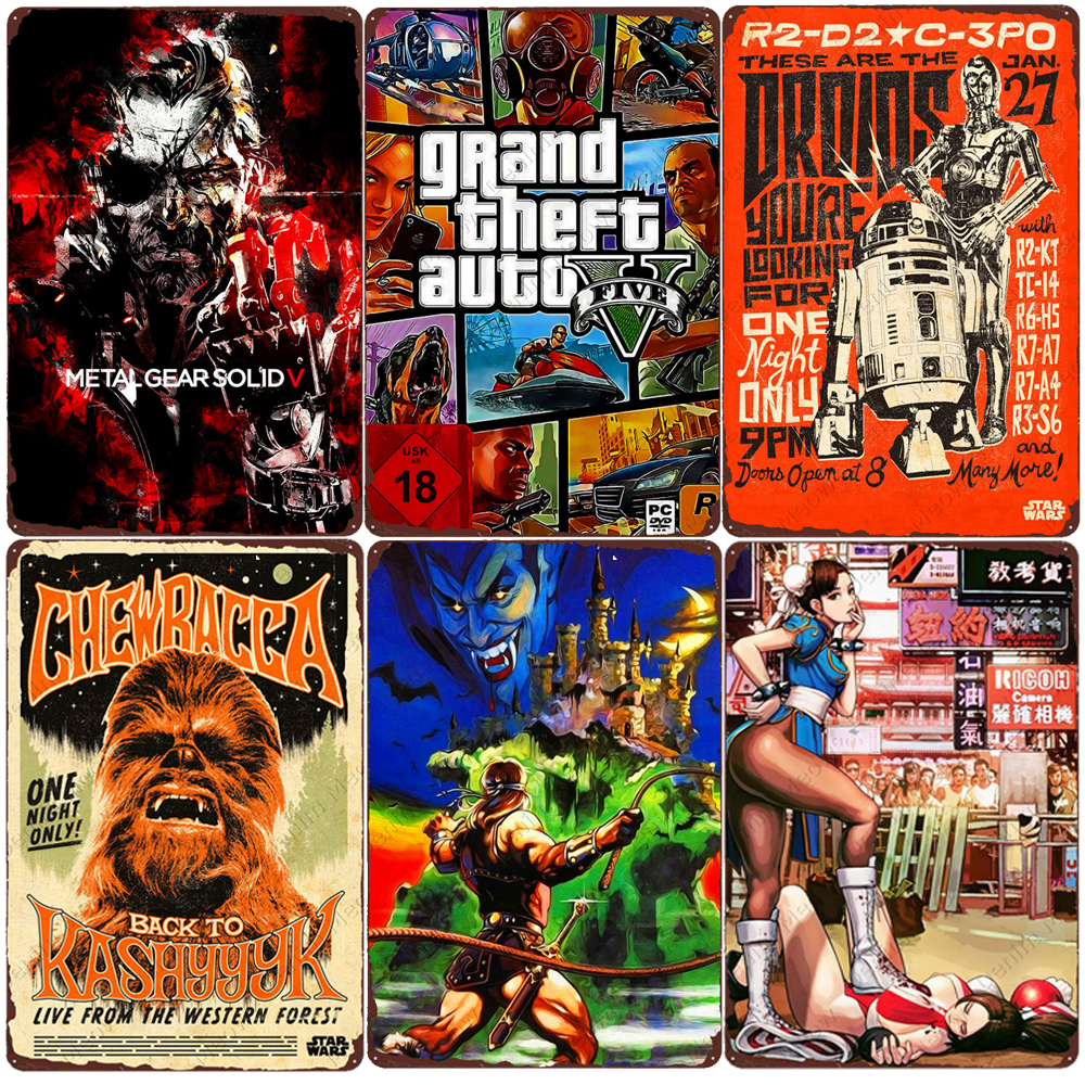 2021 Hot Games Retro Metal Tin Sign Home Bar Club Wall Decor Classic Single Game Metal Poster Gamer Vintage Plaque Gift for Kids 20X30cm