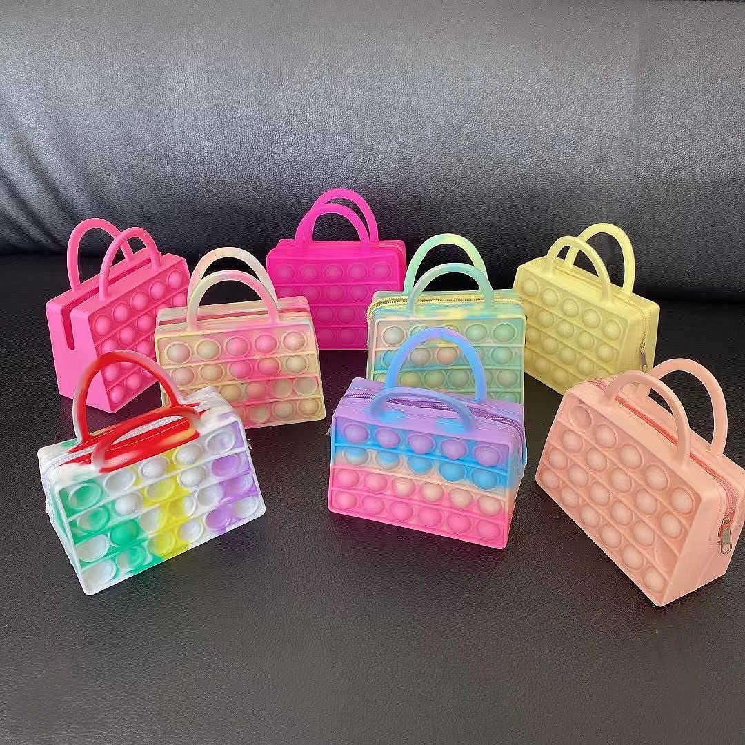11.5*10CM Girls fidget bubble purses hand bag sensory push tote zipper wallet handbag rainbow tie dye silicone washing makeup cosmetic bags G93TMKF