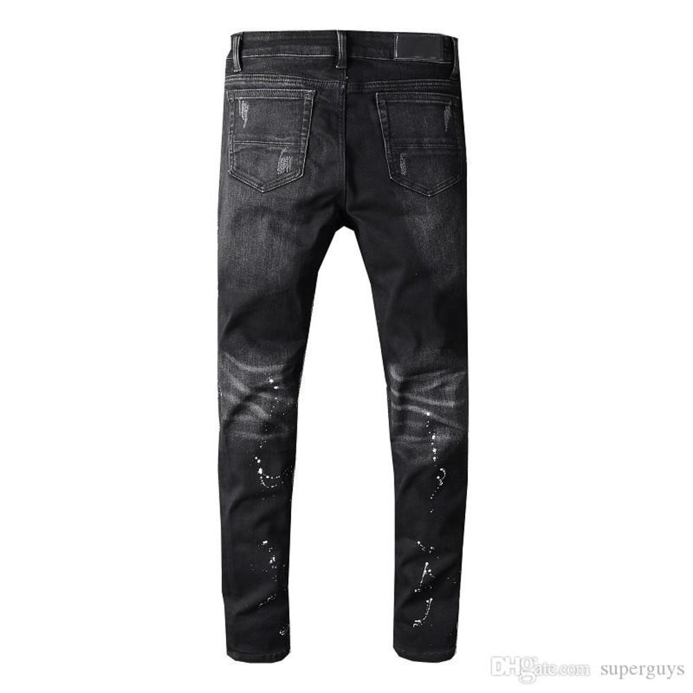 Men's Distressed Destroyed jeans Patches Ripped Skinny Black Skinny pants Slim Trousers high quality W28-40 #605