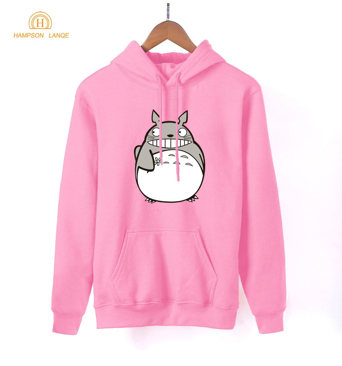 Japan Anime Kawaii Totoro Print Anime Hoodies 2019 Spring Autumn Harajuku Sweatshirts Women Hoodies Pink Warm Long Sleeve Hooded