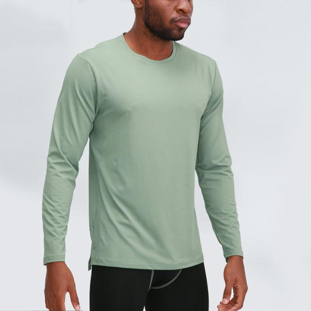 LULU new cross-border autumn and winter truffy solid color sports running fitness casual loose yoga men's long-sleeved T-shirt