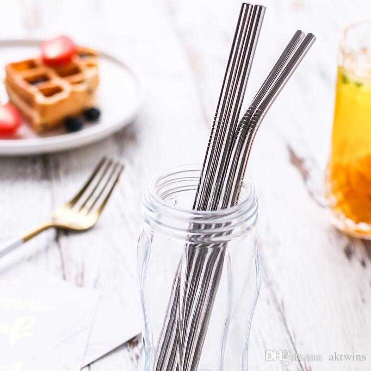 Stainless Steel Metal Straw Reusable Drinking Bent and Straight Type straws and Cleaner Brush For Home Party Bar Accessories