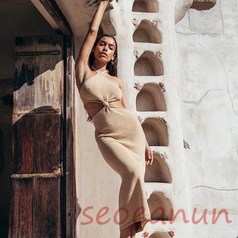 Women Knitted Swimwear Cover Ups Beachwear 2021 New Summer Halter knot Bathing Suit Beach Bikini Cover-Ups Swimsuit Cover-ups Long Dress