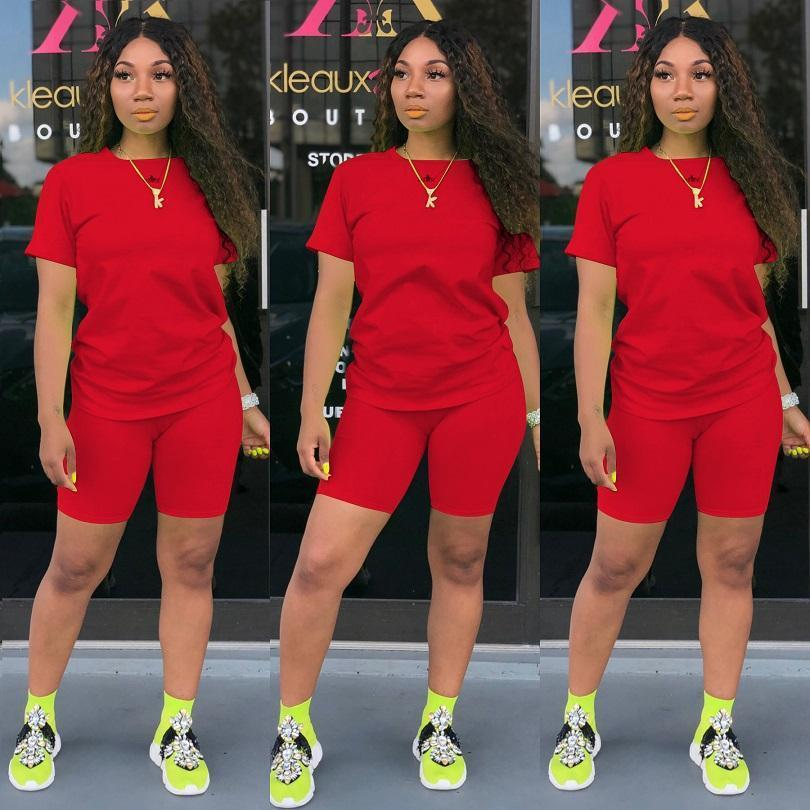 Summer Women tracksuits 2 two piece outfits set solid color t shirts shorts designer womens clothes jogging sweatsuit plus size clothing