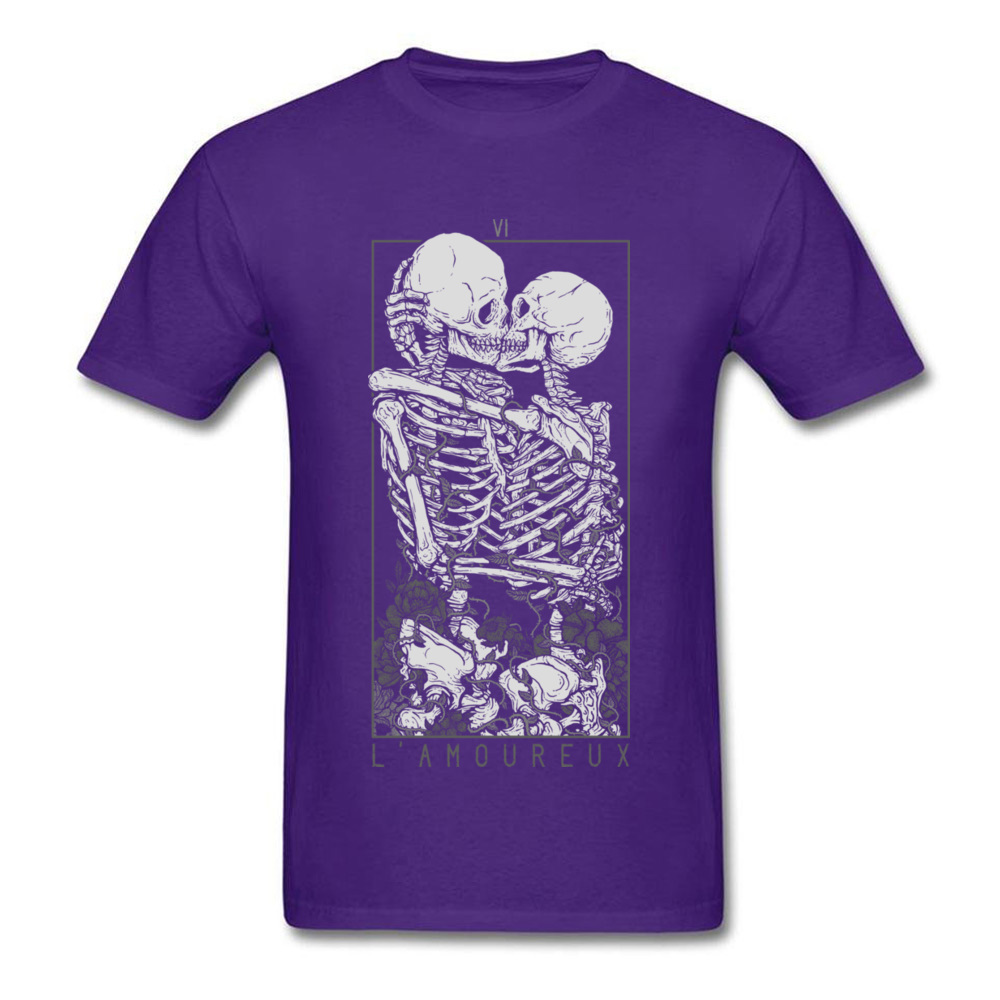The Lovers Summer Autumn Pure Cotton Crew Neck Tees Short Sleeve Summer Clothing Shirt New Design Design T Shirt The Lovers purple