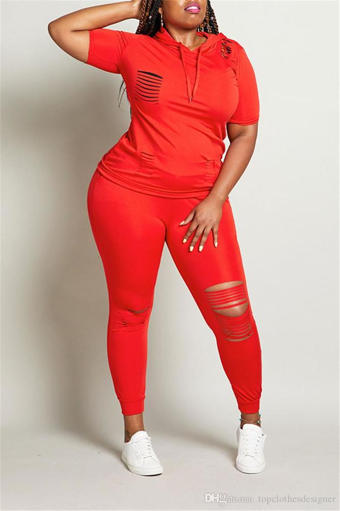 Solid Color Womens Designer Tracksuits Fashion Ripped Short Sleeve Long Pants Womens Sets Casual Females Clothing