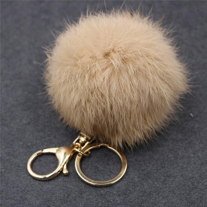 8CM ffy Pompom Real Rabbit Fur Ball Key Chain Women Trinket Pompon Hare Fur Toy keyring Bag Charms Ring Keychain Wedding Gift (14)