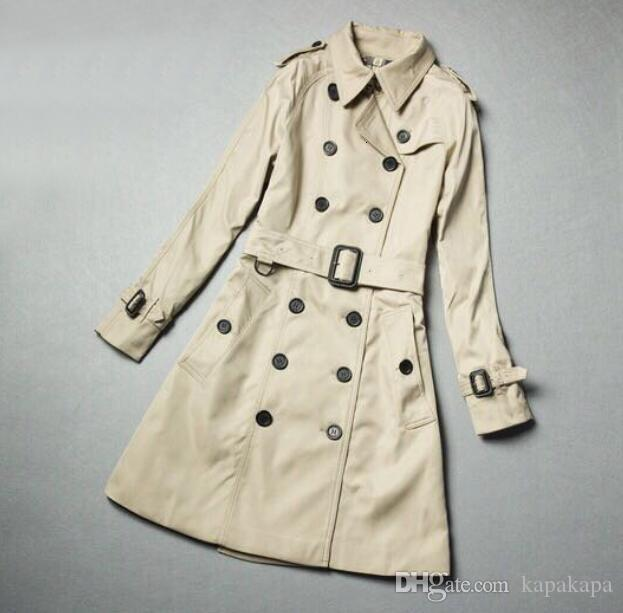 CLASSIC women fashion England middle long trench coat high quality London designed double breasted overcoat Khaki size S-XXL