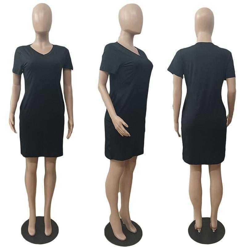 Summer clothing Women plain casual dresses 3XL midi party Plus size skirt solid color fashion elegant bodycon short sleeve V-neck night club DHL 4813