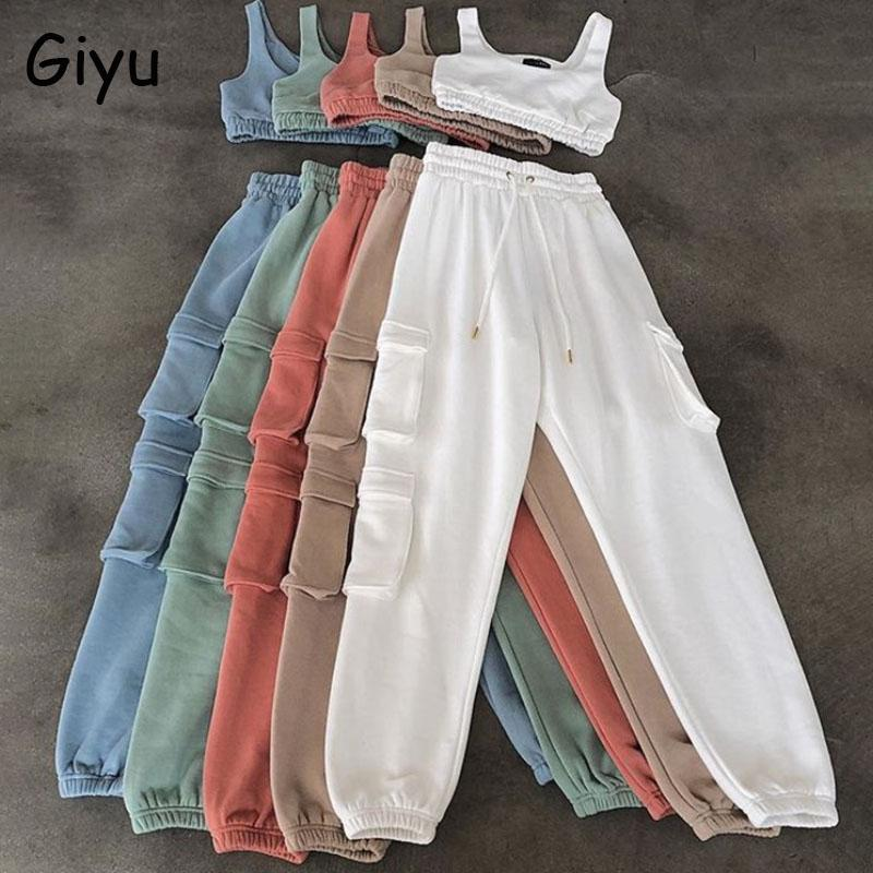 Giyu 2 Piece Set Women 2021 Autumn Casual Sport Set Crop Top Pants Women Clothing Two Piece White Tracksuit Woman Pants