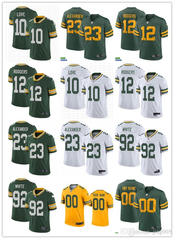 "Mens Womens Youth Green Bay""Packers""12 Aaron""Rodgers 23 Jaire Alexander 10 Love 92 Reggie White custom Yellow Football Jersey"