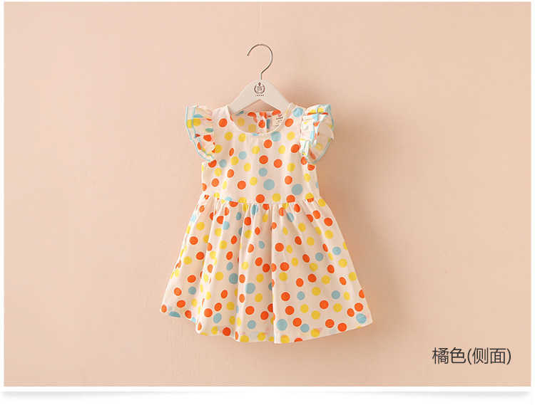 Summer 2-10 Years Beautiful Pretty Sweet Children Baby Kids Pleat Short Fly Sleeve Party Prom Polka Dot Dresses For Girls (4)