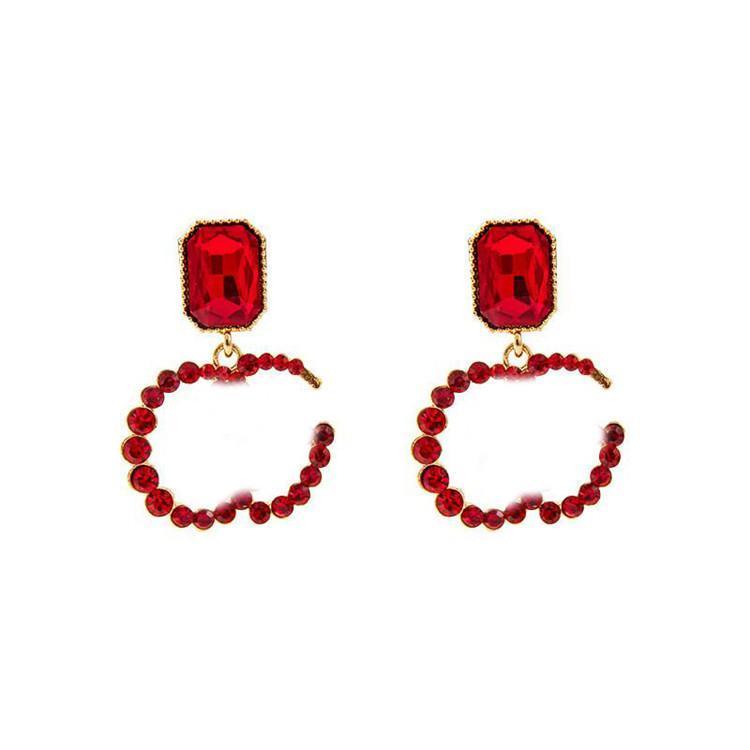 Fashion Letter Diamond Earrings Shiny Women Crystal Studs Girl Earrings Charm Earrings Gift For Party Anniversary