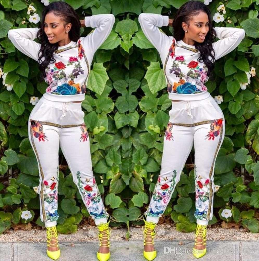 High quality Women's Suits Floral Printing Set Long Sleeve sport suit pullover Tops+Sweatpants Women Sweatshirt Pants Tracksuits