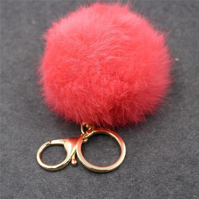 8CM ffy Pompom Real Rabbit Fur Ball Key Chain Women Trinket Pompon Hare Fur Toy keyring Bag Charms Ring Keychain Wedding Gift (20)