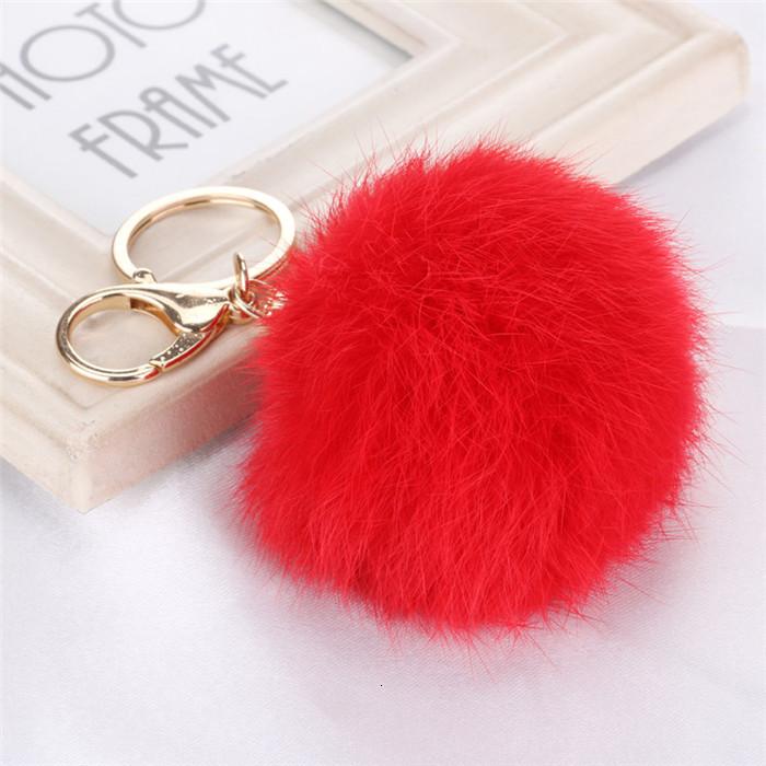 8CM ffy Pompom Real Rabbit Fur Ball Key Chain Women Trinket Pompon Hare Fur Toy keyring Bag Charms Ring Keychain Wedding Gift (1)