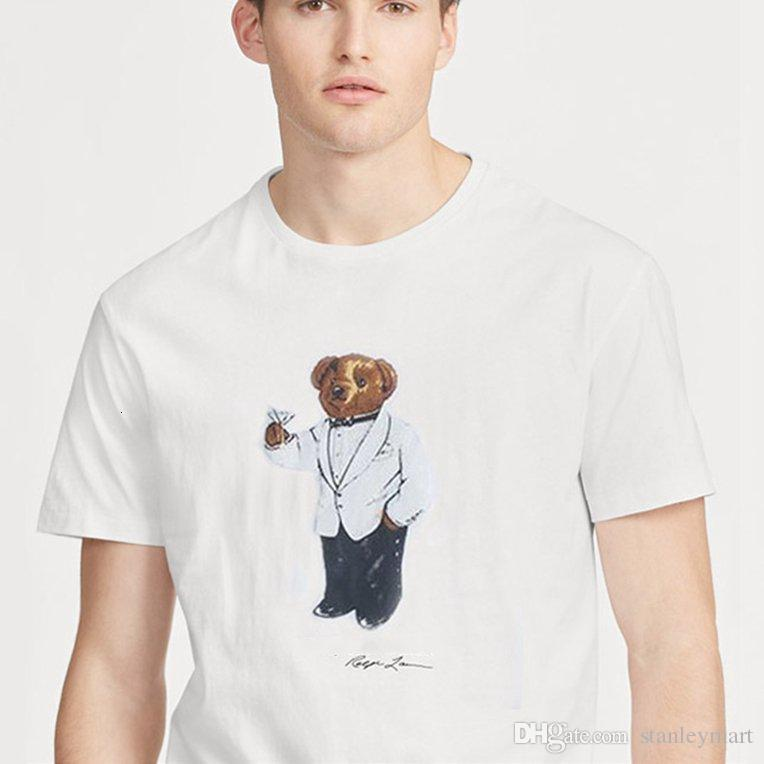 US SIZE mens Womens designer t shirts Polo Bear shirt Martini Bear tshirt Short sleeve USA T shirt cotton Hockey bear dropshipping