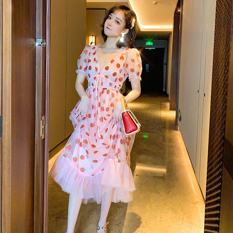 Runway Rhinestone Diamonds Strawberry Pink Mesh Maxi Dress Women Short Puff Sleeve Sexy V-neck Lace-up Bow Tunic Lolita Dress (19)