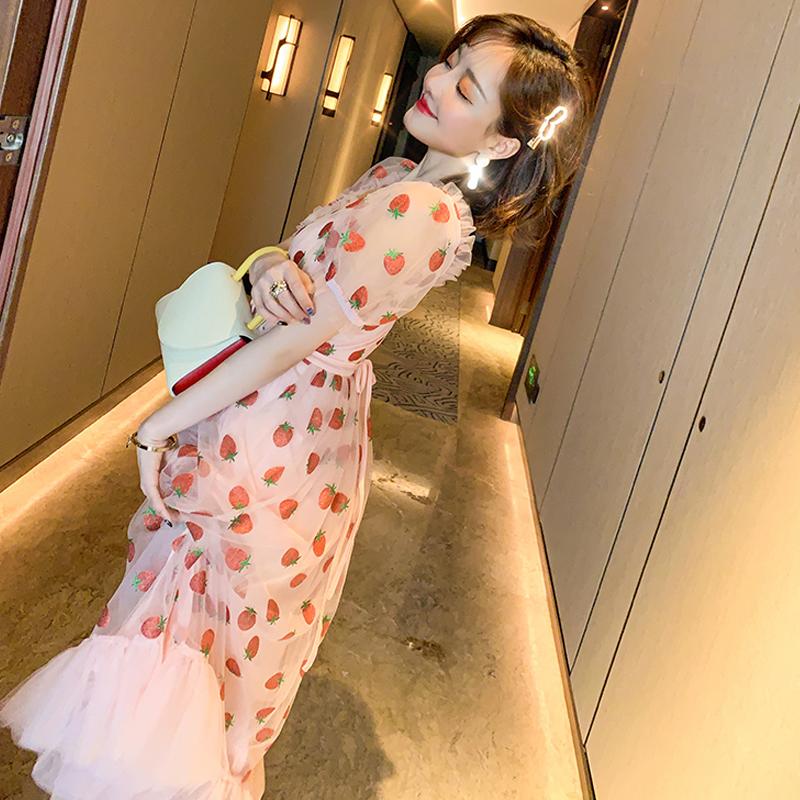Runway Rhinestone Diamonds Strawberry Pink Mesh Maxi Dress Women Short Puff Sleeve Sexy V-neck Lace-up Bow Tunic Lolita Dress (10)
