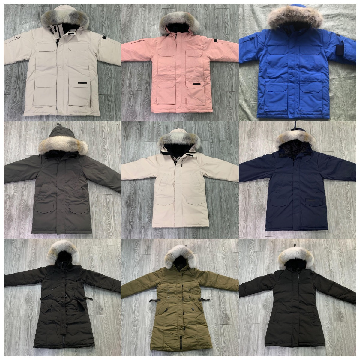 UK Winter Men Women Down Bomber Jacket Chaquetas Thicken White Wolf Fur Fourrure Fluffy hoodies Coat Outdoor Classic Windproof Warm Parkas E0712Z Size XS-2XL