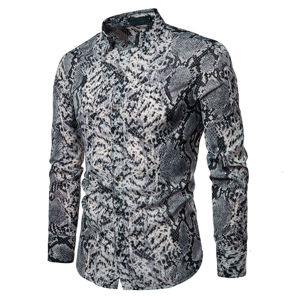 Men's Casual Snakeskin Print Shirt Large Sizes Long Sleeves Buttons Slim Shirts Male Summer Fashionable Tops Wear New Hot Sale