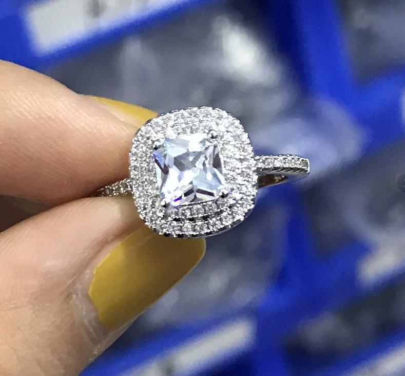 Hot Selling New Double-layer Square Zircon Diamond Ring Inlaid with Topaz Colored Diamond Ring CNE Fast Shipping