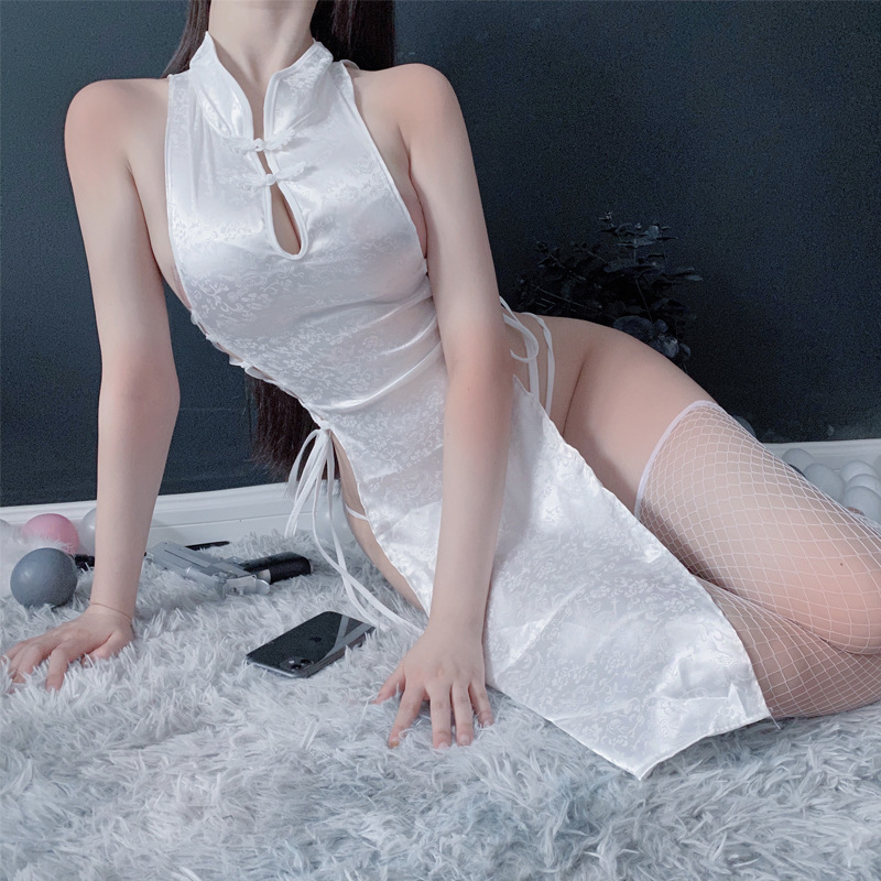 Sexy Cheongsam Dress Women Black White Robe Tree Female3