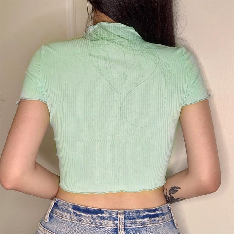 Sexy Skinny Crop Top Natural Color Short Sleeve Summer Tees Women Designer Clothes Womens Casual T-Shirt