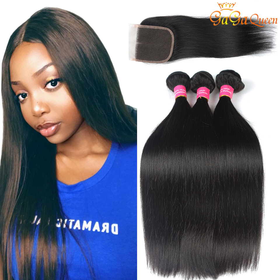 4x4 Straight Lace Closure With Hair Bundles Brazilian Straight Hair Bundles With Closure 100% Human Hair Straight Closure