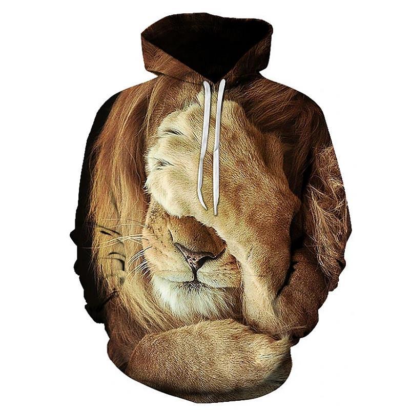 Men's Women's 3d Graphic Hoodies Fashion Lion Pattern Hoodie Unisex Couple Outfit Classic Hiphop Printing Sweatshirt Boys Streetwear