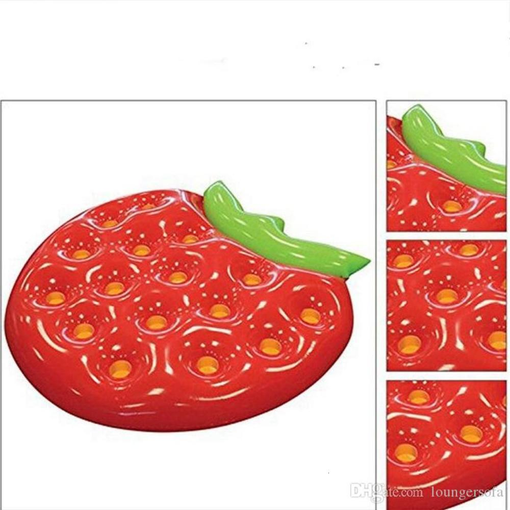 Creative Strawberry Inflatable Floating Row Summer Beach Adult Pool Water Toys PVC Children Outdoor Drift Swimming Ring 60xy Y