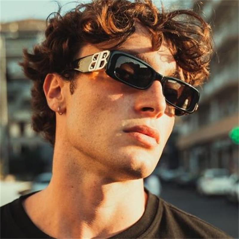 Small Rectangle Sunglasses Men Vintage Brand Designer Square Sun Glasses Shades Female Double B Eyewear Women UV400 Oculos