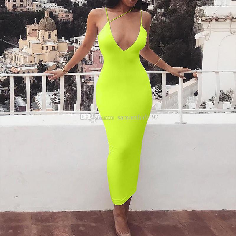 Spaghetti Strap Backless Sexy Bodycon Dress Sleeveless V-Neck Summer Long Dress Backless Beach Casual Women Dress 2019