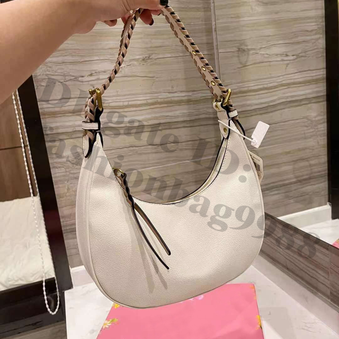 Young Women Brand Hobos Black Shoulder Bags Ladies Famous Genuine Leather White One Side Armpit Crossbody Hand Bag Full Letters Business Worker Lady Handbags