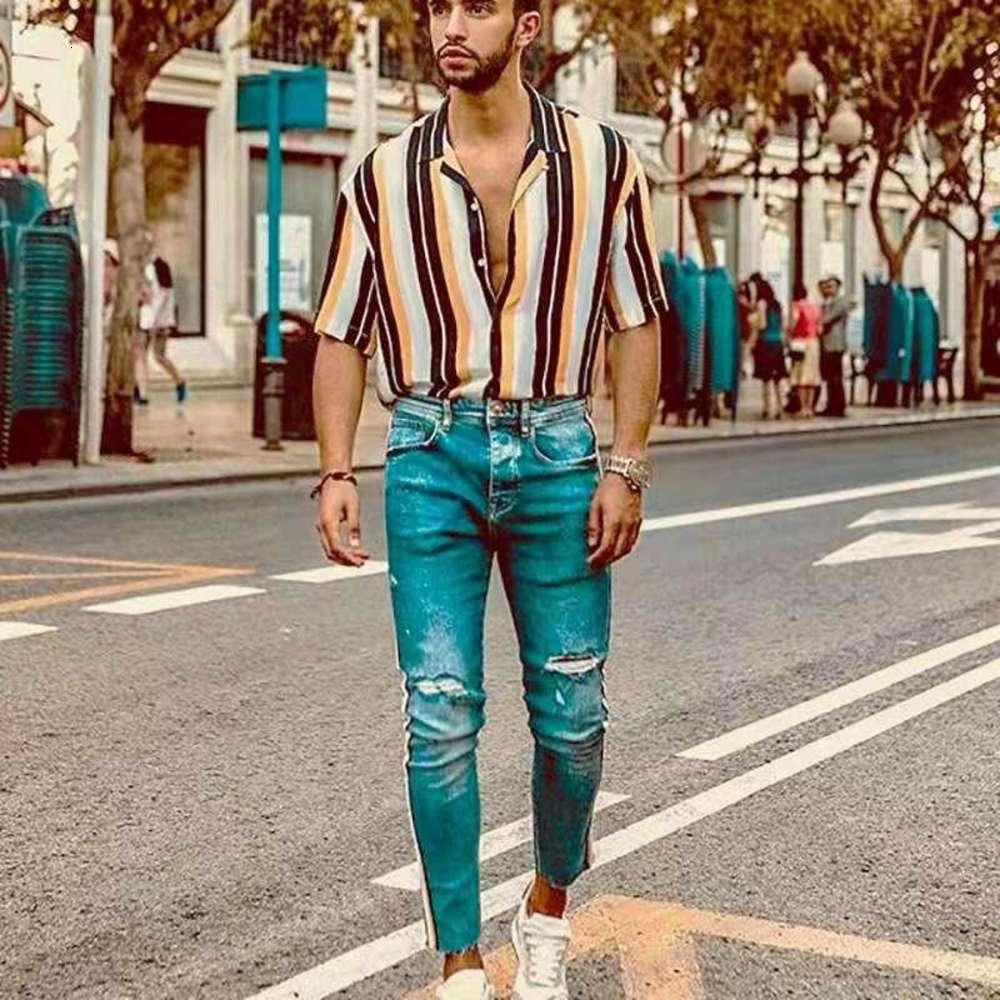 Mens Striped Hawaii Tshirts Men Summer Leisure Turn Down Collar Single Breasted Short Sleeve Shirts Males Fashion Clothing