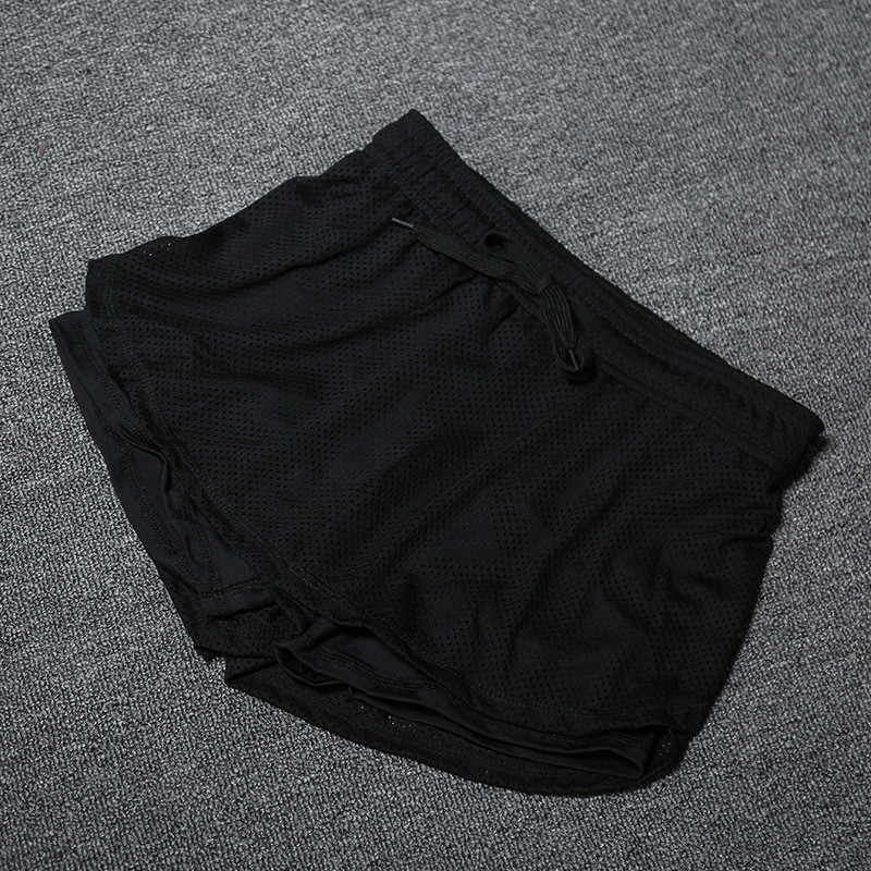 Summer Women Cotton Mesh Short Pants Work-out Two Layer Fitness Fold Short Pants Cool Wear Drawstring Clothing (20)