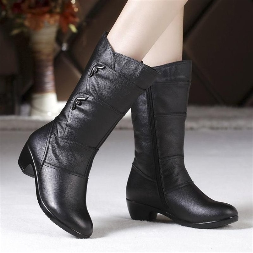 Women's Mother Female Ladies Leather Shoes Boots Botas Knee High Zipper Winter Warm Plush Mid Calf Plus Size Mid-calf Snow Boot 210910