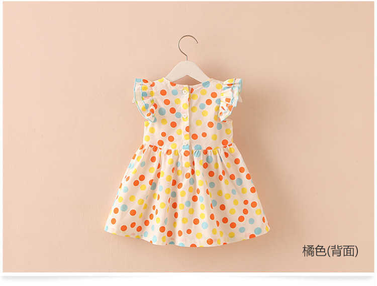 Summer 2-10 Years Beautiful Pretty Sweet Children Baby Kids Pleat Short Fly Sleeve Party Prom Polka Dot Dresses For Girls (3)