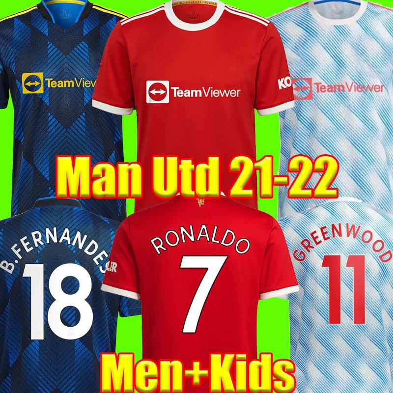 2021 2022 RONALDO Soccer Jersey United SANCHO B.FERNANDES 21 22 Manchester Player Version Football Shirt BRUNO FERNANDES LINGARD POGBA RASHFORD UTD Men + Kids Kit