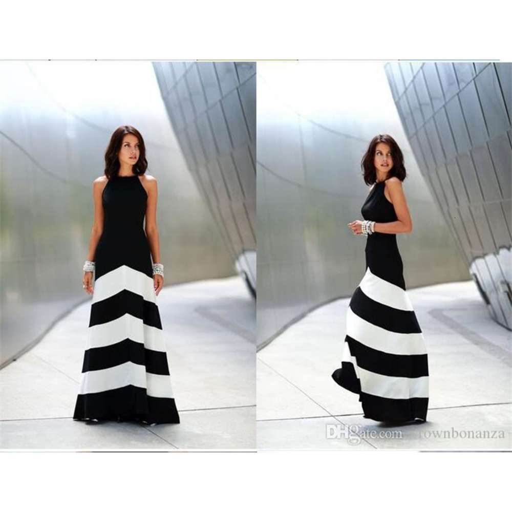 Black and white striped maxi dress womens backless dress summer dresses formal dresses evening Sexy Ladies Stripes Long Maxi Evening dress