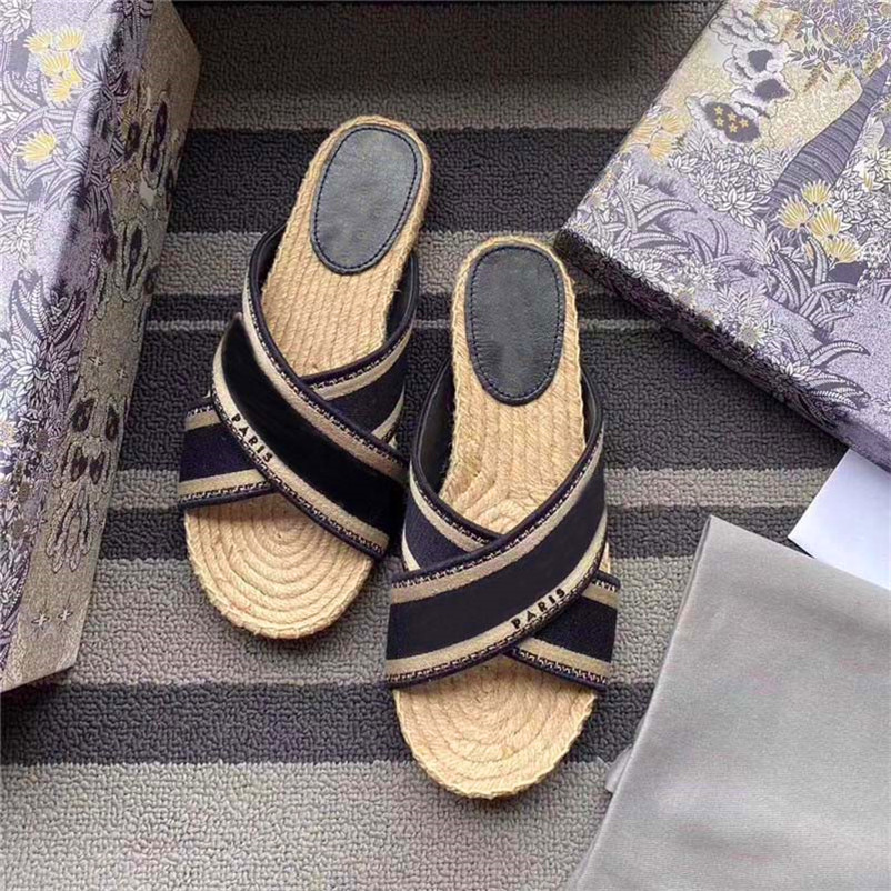 Cross Straps Straw Fisherman Shoes Designers Women Sandals With Floral Box Wide Striped Espadrilles Flat Slides Summer Fashion Flip Flops Must-have Womens Loafers