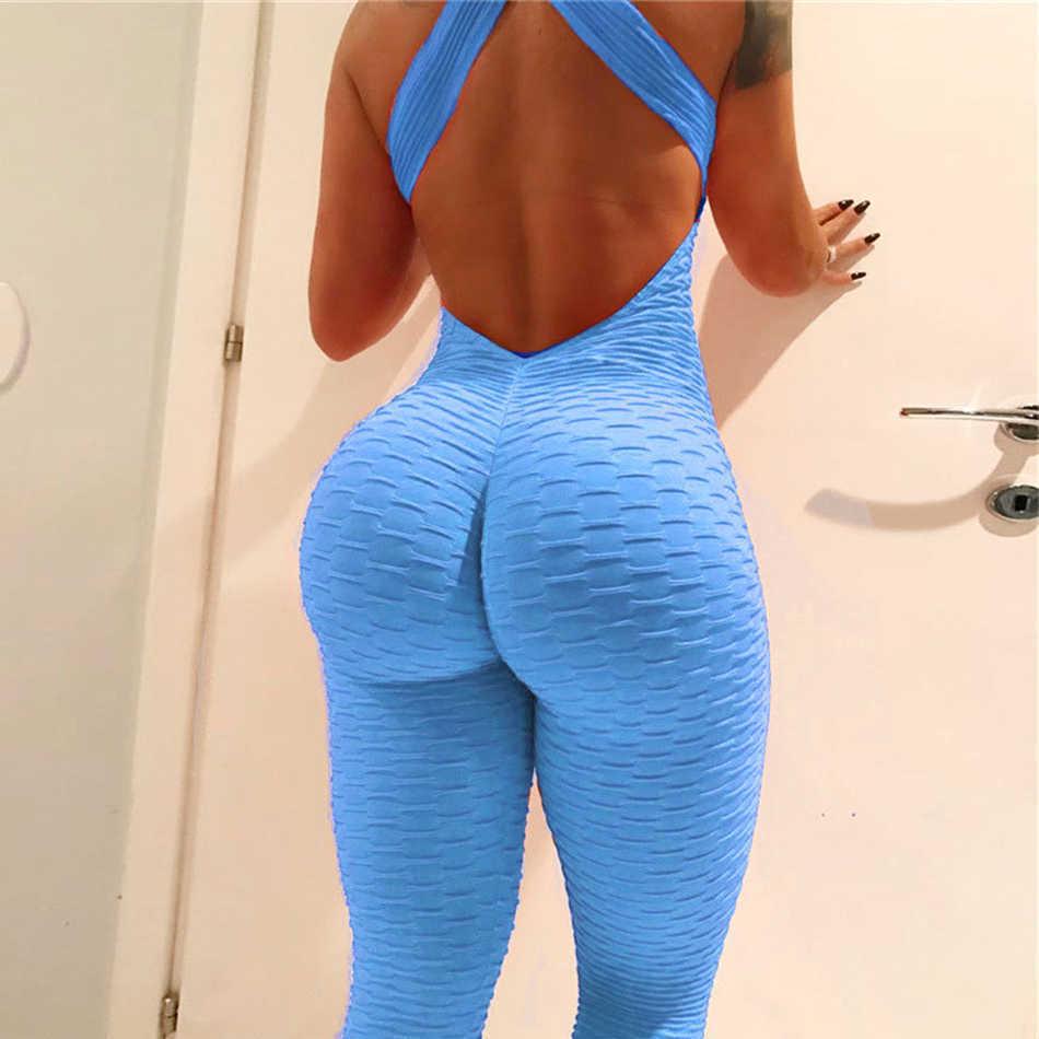 Yoga Sets Women Sportswear Workout Yoga Clothes For Women Slim Fitness Stretchy Ropa Yoga Mujer Running Set Bandage Gym Bodysuit Q190521