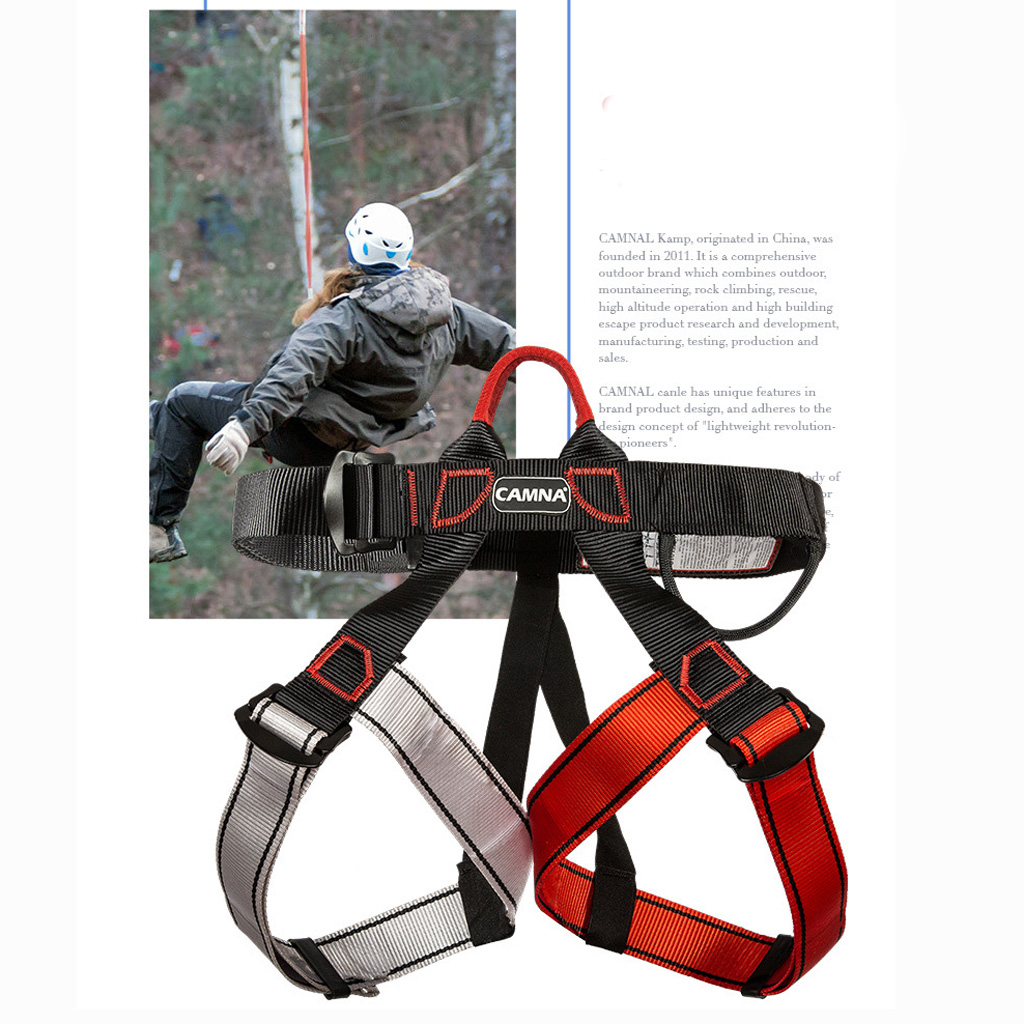 Profession Rock Climbing Harness Tree Rappelling Seat Safety Belt Half Body Fall Protection Harness Lanyard Construction Tool