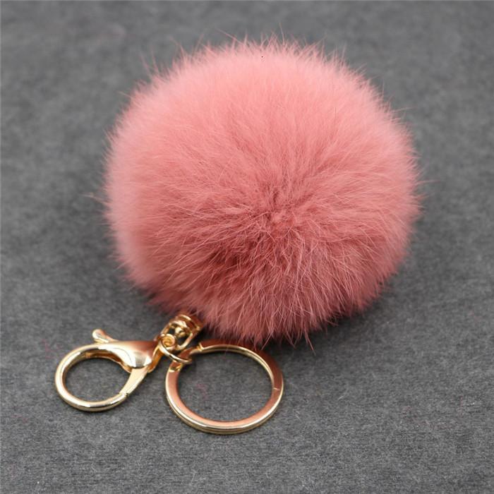 8CM ffy Pompom Real Rabbit Fur Ball Key Chain Women Trinket Pompon Hare Fur Toy keyring Bag Charms Ring Keychain Wedding Gift (22)