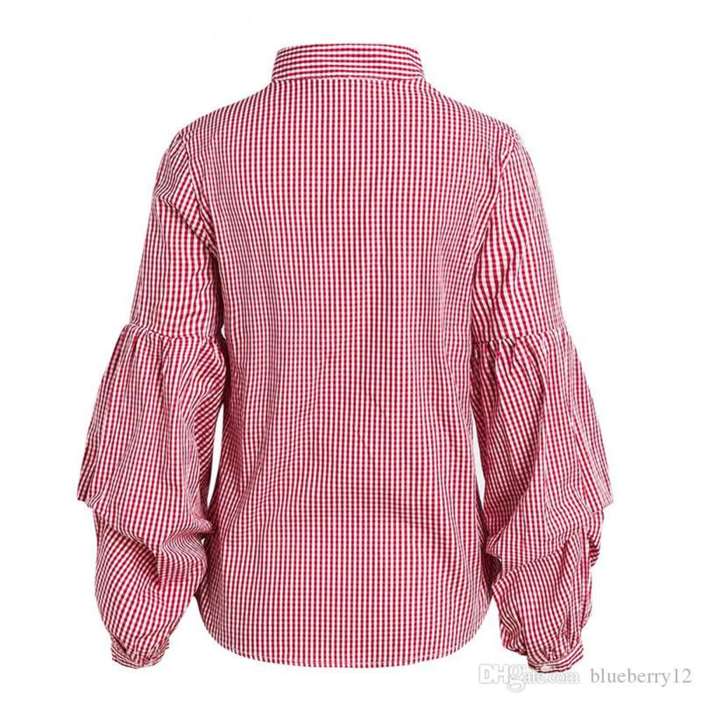 Women Striped Shirts Spring Long Sleeve Blouses Shirt Office Lady V Neck Shirt Casual Tops Plus Size