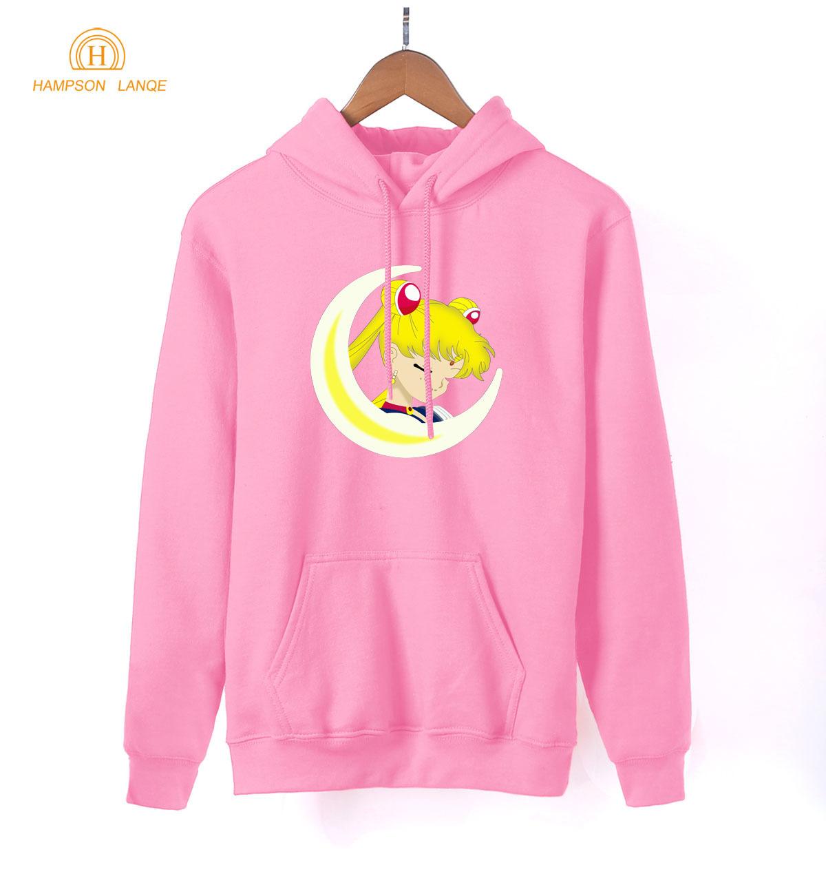 Japanese Anime Sailor Moon Print Cartoon Hoodies Adult 2019 Spring Autumn Long Sleeve Sweatshirts Women K-pop Pink Color Hoodie