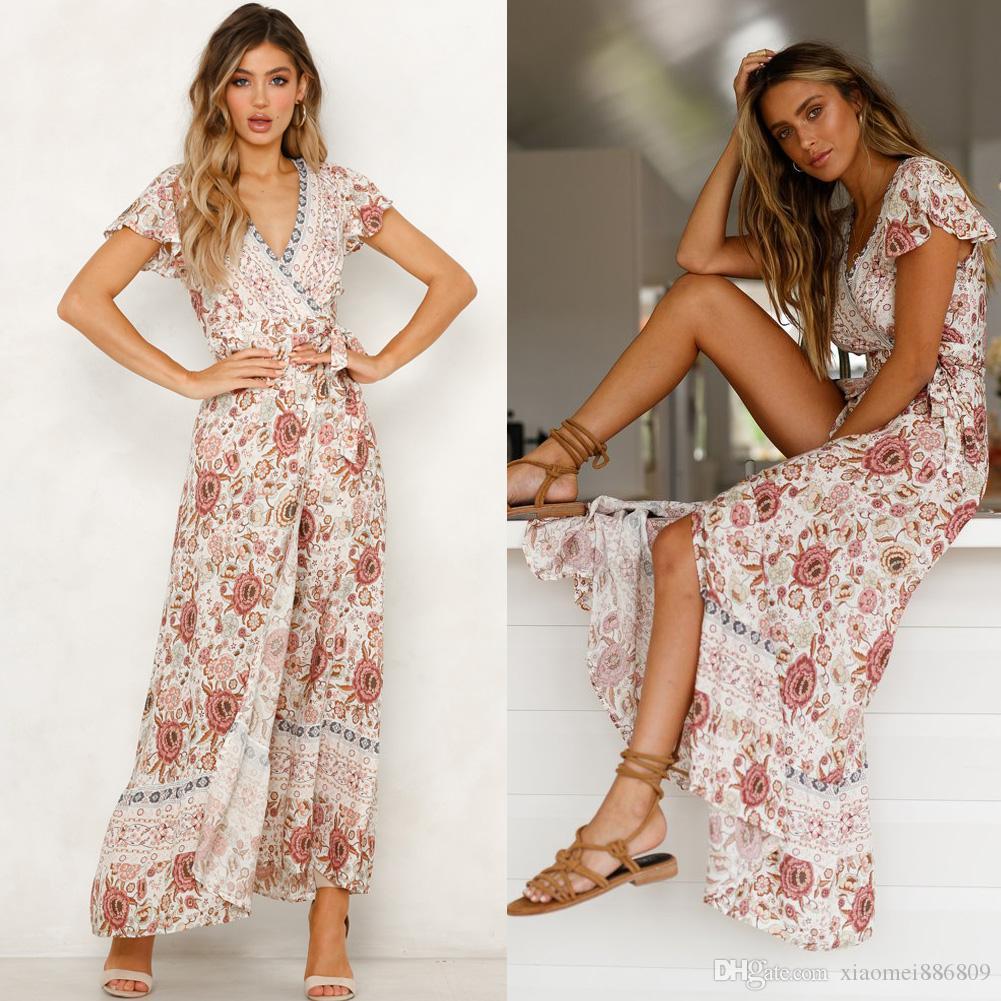 Women Boho Floral Long Maxi Dress V-Neck Floral Split Dress Summer Beach Sundres